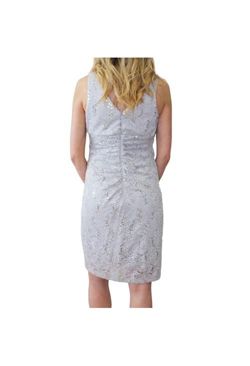Scarlett Silver Sequence Diamante Detail Dress