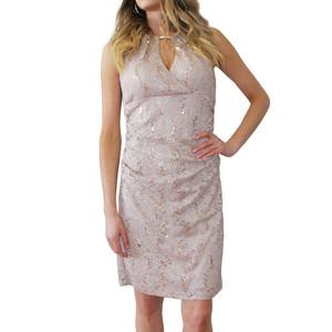 Scarlett Taupe Silver Sequence Diamante Detail Dress