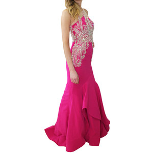 Lore Diamante Detail Fushia Crepe Long Dress