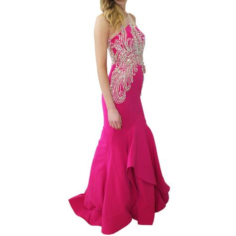 Lore Diamante Detail Fushia Crepe Long Dress