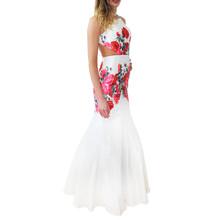 Lore White Vibrant Floral Print Open Back Long Dress