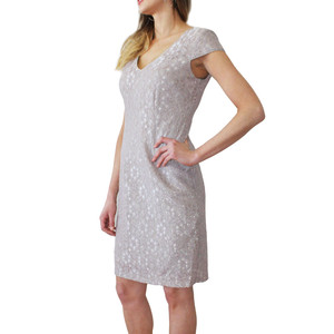 Ronni Nicole Taupe Lace V-Neck Dress
