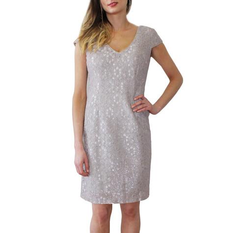 Ronni Nicole Taupe Lace V-Neck Dress