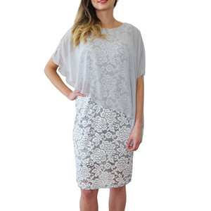 Ronni Nicole Silver Cape Floral Pattern Dress