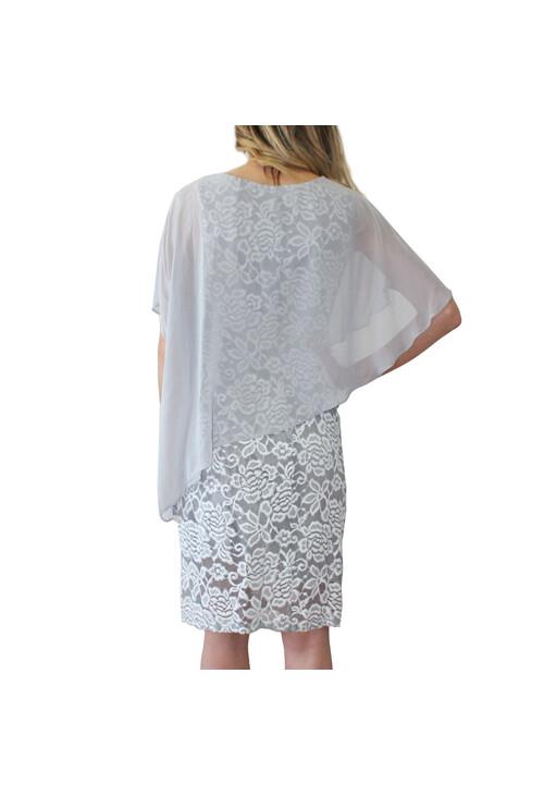 Ronni Nicole Silver Cape Floral Pattern Dress