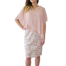 Ronni Nicole Blush Cape Floral Pattern Dress