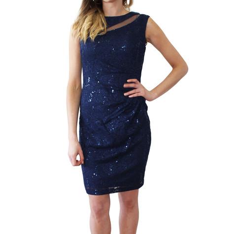 Scarlett Navy Mesh Sleeveless Pulled Dress