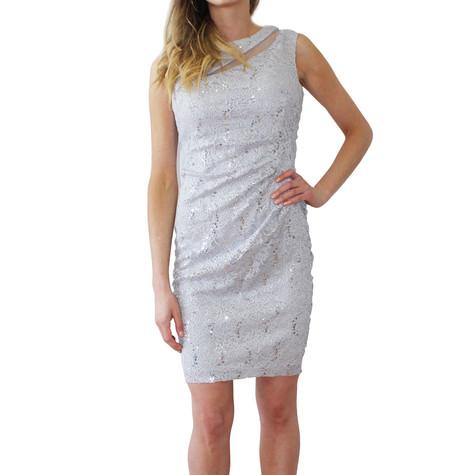 Scarlett Silver Mesh Sleeveless Pulled Dress