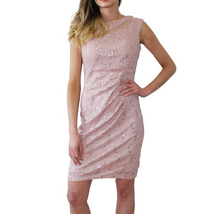 Scarlett Pink Mesh Sleeveless Pulled Dress