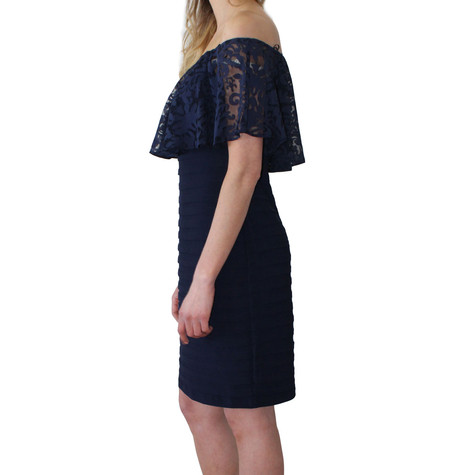 Scarlett Navy Cold Shoulder Cape Dress