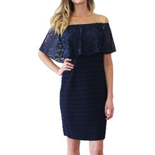 Scarlett Navy Cold Shoulder Cape Dress