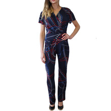 Zapara Navy & Red Abstract Print Jumpsuit