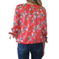 Zapara Coral Floral Pattern Sweetheart Top