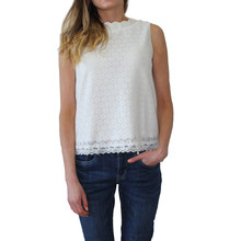 Zapara White Scallop Neck Top