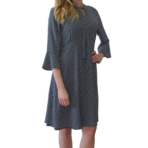 Zapara Navy Polka Dot Bell Sleeve Dress