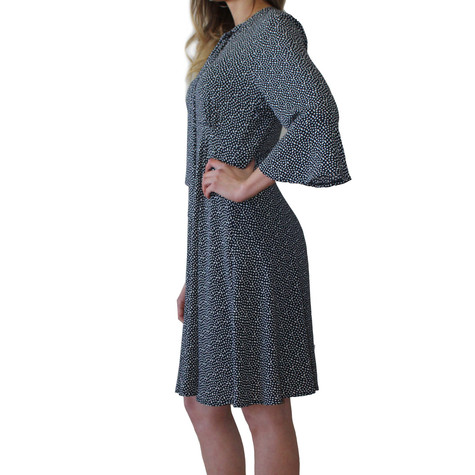 Zapara Navy Polka Dot Bell Sleeve Dress
