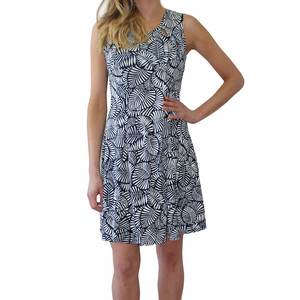 Zapara Sleeveless White & Navy Leaf Print Dress