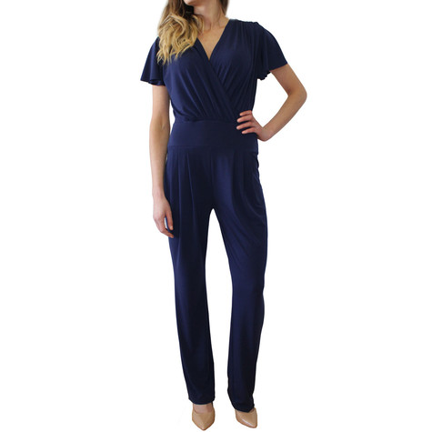 Zapara Navy Plain Wrap Jumpsuit
