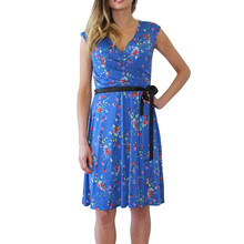 Zapara Blue Floral Pattern Belted Dress