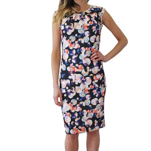 Zapara Peach & Black Pattern Print Dress