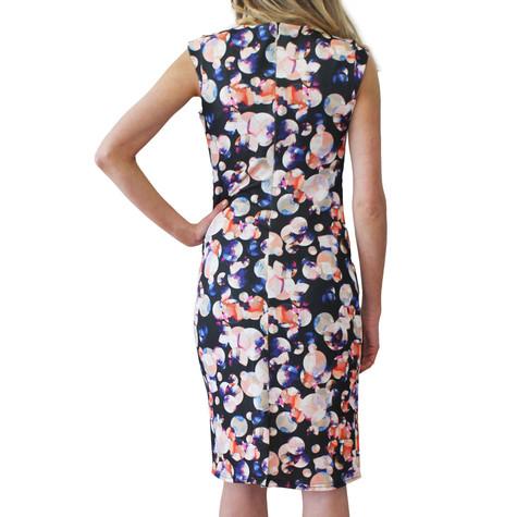Zapara Peach & Black Pattern Print Dress