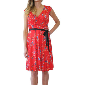 Zapara Red Floral Pattern Belted Dress