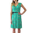 Zapara Green Floral Pattern Belted Dress