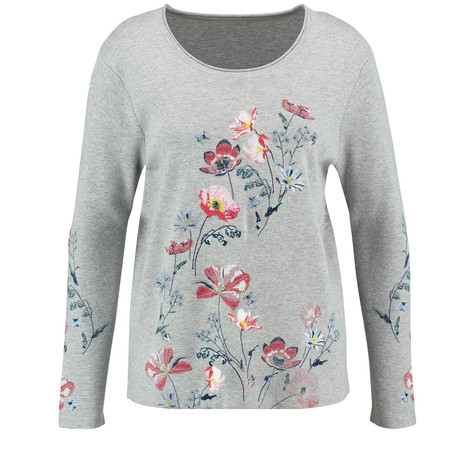 Gerry Weber Grau/Rot/Orange Druck Floral Embroidery Jumper