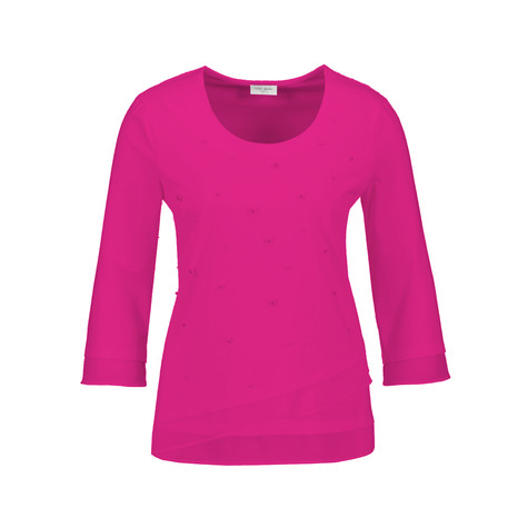 Gerry Weber Fuchsia Pearl Detail Round Neck Top