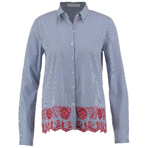 Gerry Weber Blue Pin-Stripe Embroidery Hem Shirt