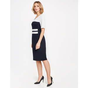 Gerry Weber Ecru & Navy Panel Short Sleeve Dress