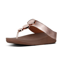Fit Flop Rose Gold Leather Toe-Thong Sandals