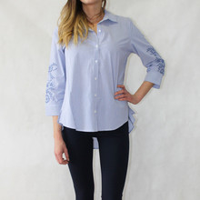 Zac and Rachel Blue Pin-Stripe Blouse