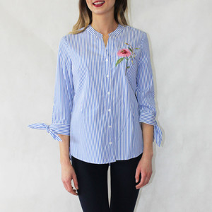 Zac and Rachel Blue Stripe Flower Embroidery Detail Blouse