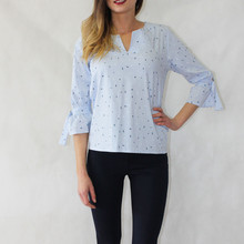 Twist White Pin-Strip Bird Pattern Blouse