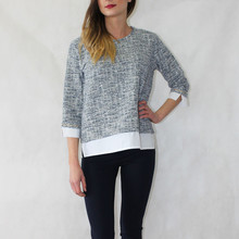 Zapara Dark Blue, White & Silver Fleck Top
