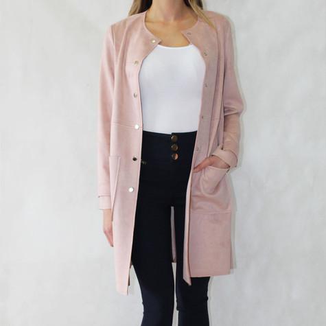 Zapara Soft Pink Long Button Jacket