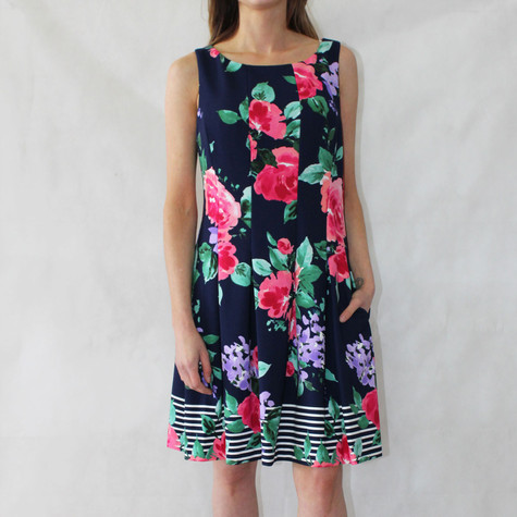 Jessica Howard Navy Sleeveless Floral Pattern Print Dress