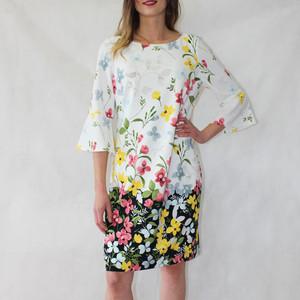 Jessica Howard Ivory Bell Sleeve Floral Pattern Print Dress