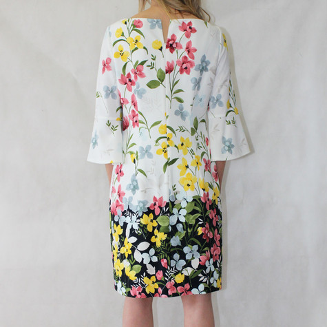 Jessica Howard Ivory Bell Sleeve Floral Pattern Print Dress