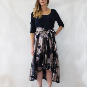 Jessica Howard Navy High Low Silver Floral Pattern Print Dress