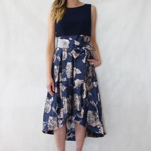 Jessica Howard Navy Silver Floral Pattern Dress