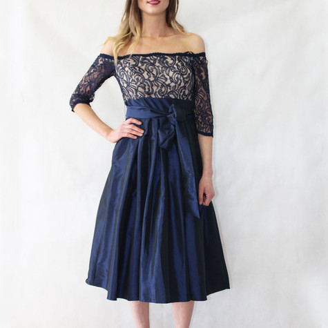 Jessica Howard Navy Lace Top Tulle Dress