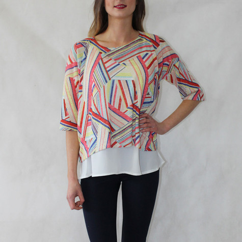 SophieB Missoni Multi Print White Hem Top