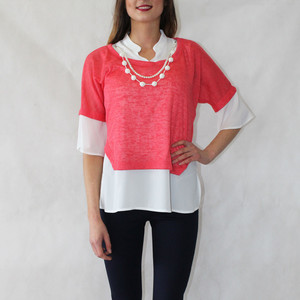 SophieB 2 in 1 Pearl Detail Pink Top