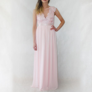 Goddiva Blush Long Lace & Chiffon Dress