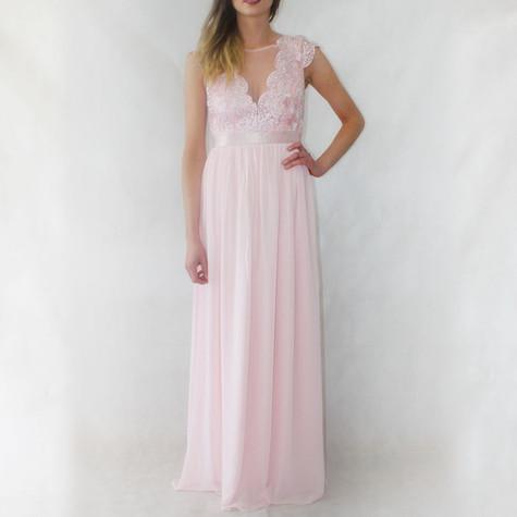 Goddiva Blush Long Lace & Chiffon Dress