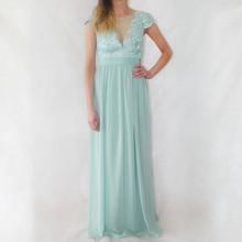 Goddiva Duck Egg Lace & Chiffon Long Dress