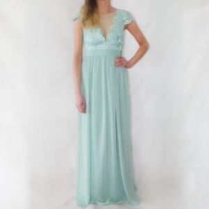 Goddiva Duck Egg Lace & Chiffon Long Dress