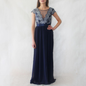 Goddiva Navy Lace & Chiffon Long Dress